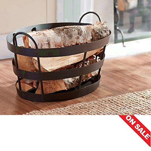 Rustic Iron Basket Fire Place Wood Basket Fireplace Storage Wood Holder Basket Near Fireplace for Logs Metal Bin & E book By Easy2Find