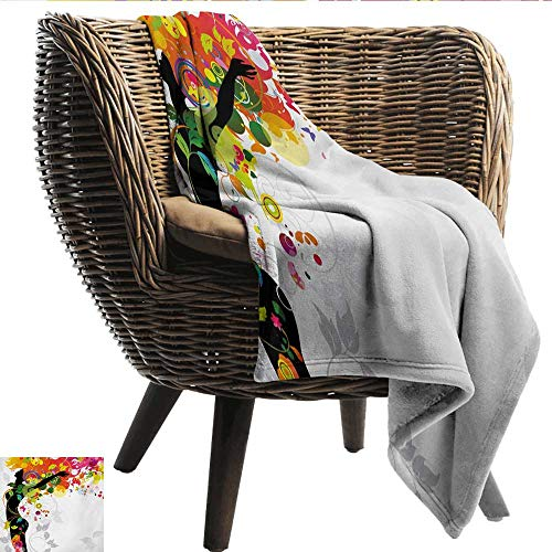 Colorful Reversible Blanket Woman Silhouette with Vibrant Colored Hair Abstract Freedom Expressing Image Print Fall Winter Spring Living Room 50