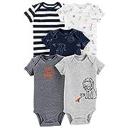 Carter's Baby Boys 5 Pack Bodysuit Set, Roar, Newborn