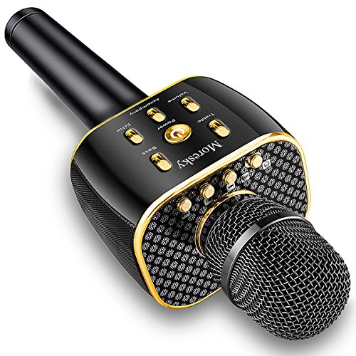 Moresky Karaoke Microphone Wireless Handheld Mic Bluetooth Speaker for Apple iPhone Android Samsung Smartphone iPad PC Home KTV Outdoor Party Singing, Support Music APP & TF Card