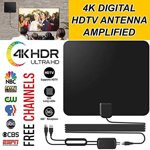 Vmade Newest HD Digital Indoor Amplified TV Antenna Support 4K,1080p HDTV,DTV,TV Amplifier Signal Booster Receive Digital Signals for Free National and Local Television Programs (Best Turkey Box Call 2019)