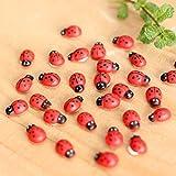 OHTOP 10Pcs Beetle Ladybug Fairy Garden Ornament Figurine Miniature Dollhouse Decor(Red)