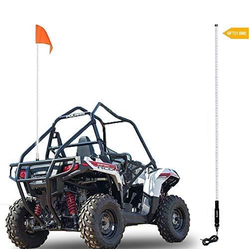 - Beatto 6FT(1.8M) White LED Whip Light LED Safety Flag Whips Light LED Antenna Light For Off- Road Vehicle ATV UTV RZR Jeep Trucks Dunes