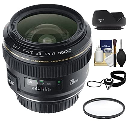 Canon EF 28mm f/1 8 USM Lens + UV Filter + Hood + Accessory Kit for EOS 6D,  7D, 70D, 5D Mark II III, Rebel T3, T3i, T4i, T5i, SL1 Digital SLR Cameras