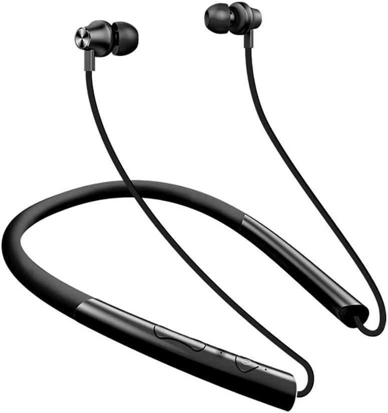 スポーツBluetoothヘッドフォンインイヤーサブウーファーメタル防水磁気ステレオイヤホン (色 : Piano black)