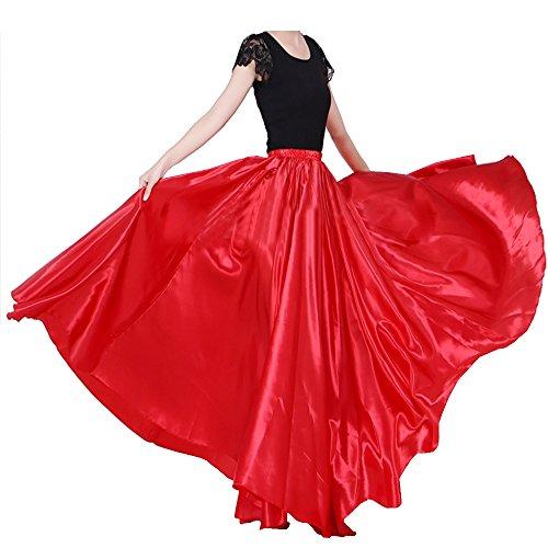 Backgarden Womens Elegant Ballroom Long Latin Belly Dance Full Circle Dance Skirt (Red) (Circle Red Full)
