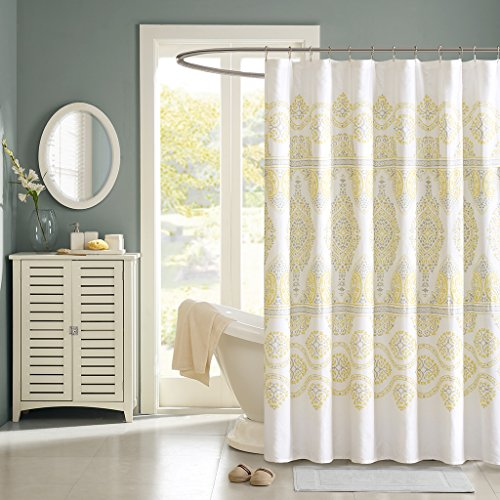 yellow and white shower curtain - 6