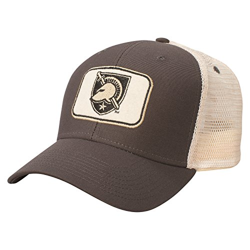 Ouray Sportswear NCAA Army Black Knights Soft Mesh Sideline Cap, Adjustable Size, Dark Grey/Natural - Knights Mesh Cap