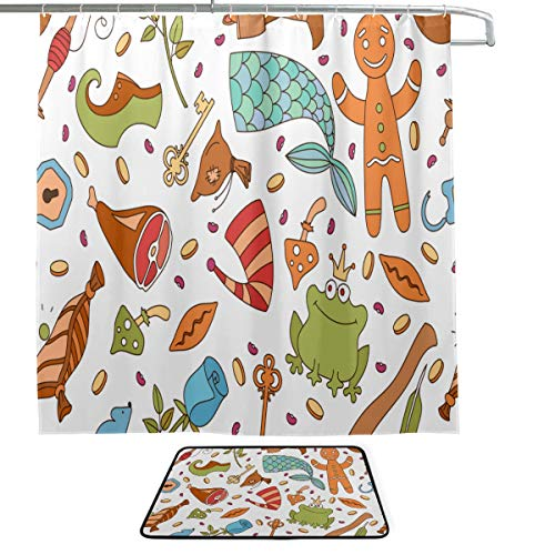 Magic Boots Psychedelic Magical Cute Single-Sided Printing Shower Curtain and Non-Slip Bath Mat Rug Floor Mat Combination Set with 12 Hooks for Bathroom Decor and Daily Use