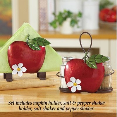 Red Apple Country Kitchen Accent Storage Collection (3 Pc Napkin Salt n Pepper Shaker Set)