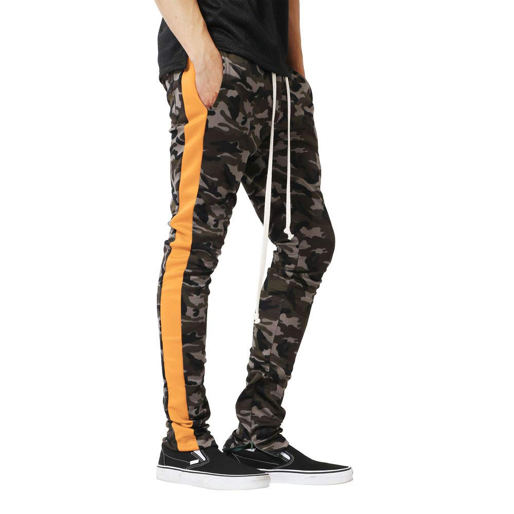 ErYao Men Splicing Camouflage Overalls Casual Pocket Sport Work Casual Trouser Pants
