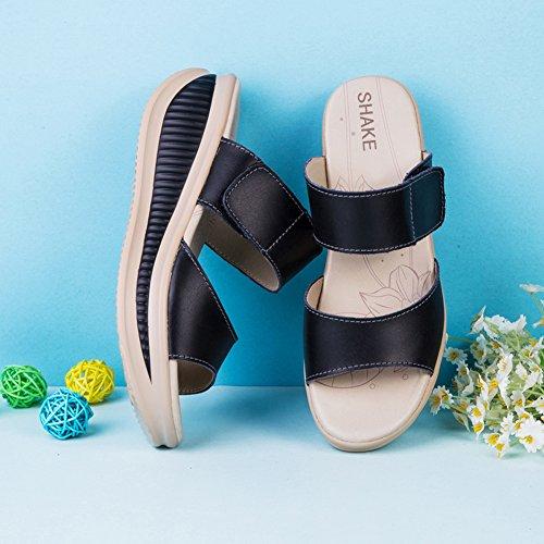 638344f36f2 SHAKE Women s Platform Heeled Wedges Sandals Shape Ups Leather Comfort Peep  Toe Walking Shoes For Women