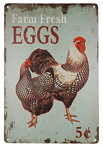 TISOSO Farm Fresh Eggs Vintage Tin Sign Farmhouse