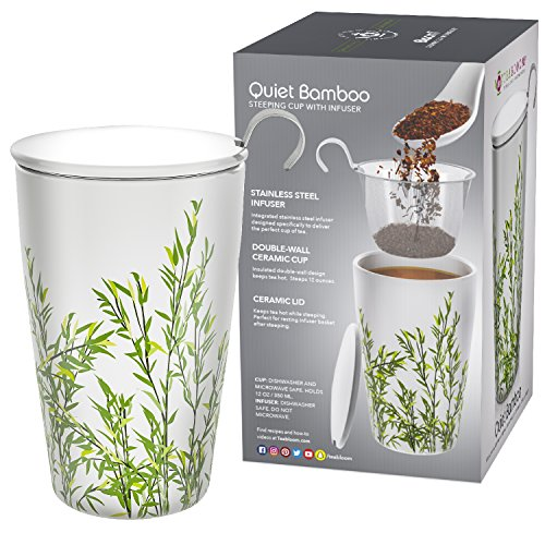 Teabloom BLOOMI Double Wall Insulated Ceramic Brewing Cup with Infuser Basket and Lid for Steeping – Loose Leaf Tea Maker – Intelligent & Beautiful Infuser Mug Design – Quiet Bamboo