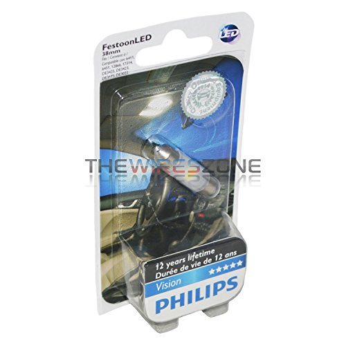 Philips 128016000KB1 38mm festoon Bright White Interior Vision LED light, 1 Pack ()