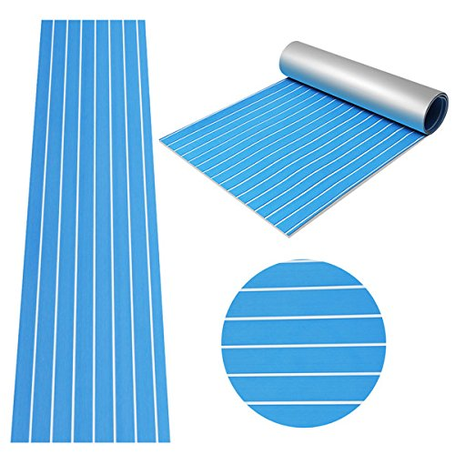 CoCocina 90x240cm Blue with White EVA Foam Teak Boat Flooring Sheet Yacht Synthetic Teak Decking Pad