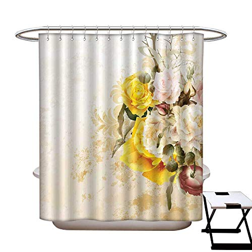 Stevenhome Floral Anti Bacterial Shower Curtain Liner Flower Bouquet Flourishing Rose Petals Botany Shabby Chic Design Eco Friendly,Rust Proof Grommets Holes Earth Yellow Olive Green Pink