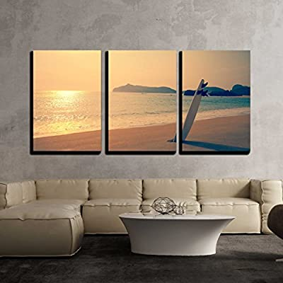 Quality Creation, Fascinating Artistry, Old Photo of Surfboard on The Wild Beach of Hawaii Us x3 Panels
