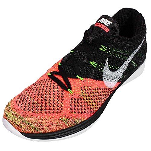 Nike Hombres Flyknit Lunar3, Negro / Blanco-caliente Lava-volt, 13 M Es