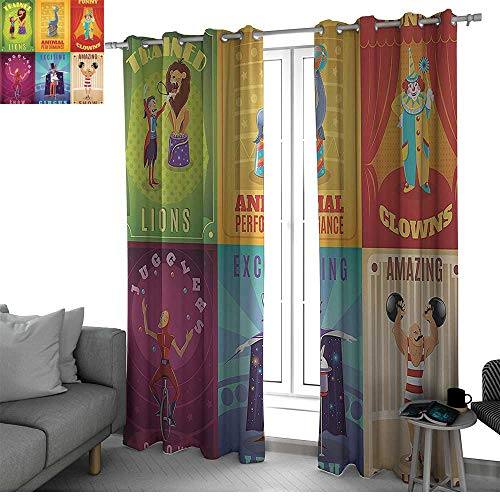 Benmo House Circus Decor Curtains for Sliding Glass Door Circus Characters with Trained Animals The Strong Man Trapeze Artist Retro Show Design Black Out Window Curtain Multi W96 x L84 Inch