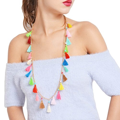 Simsly Long Multi Colored Tassel Necklace with Pendant for Women and Girls (Gold)