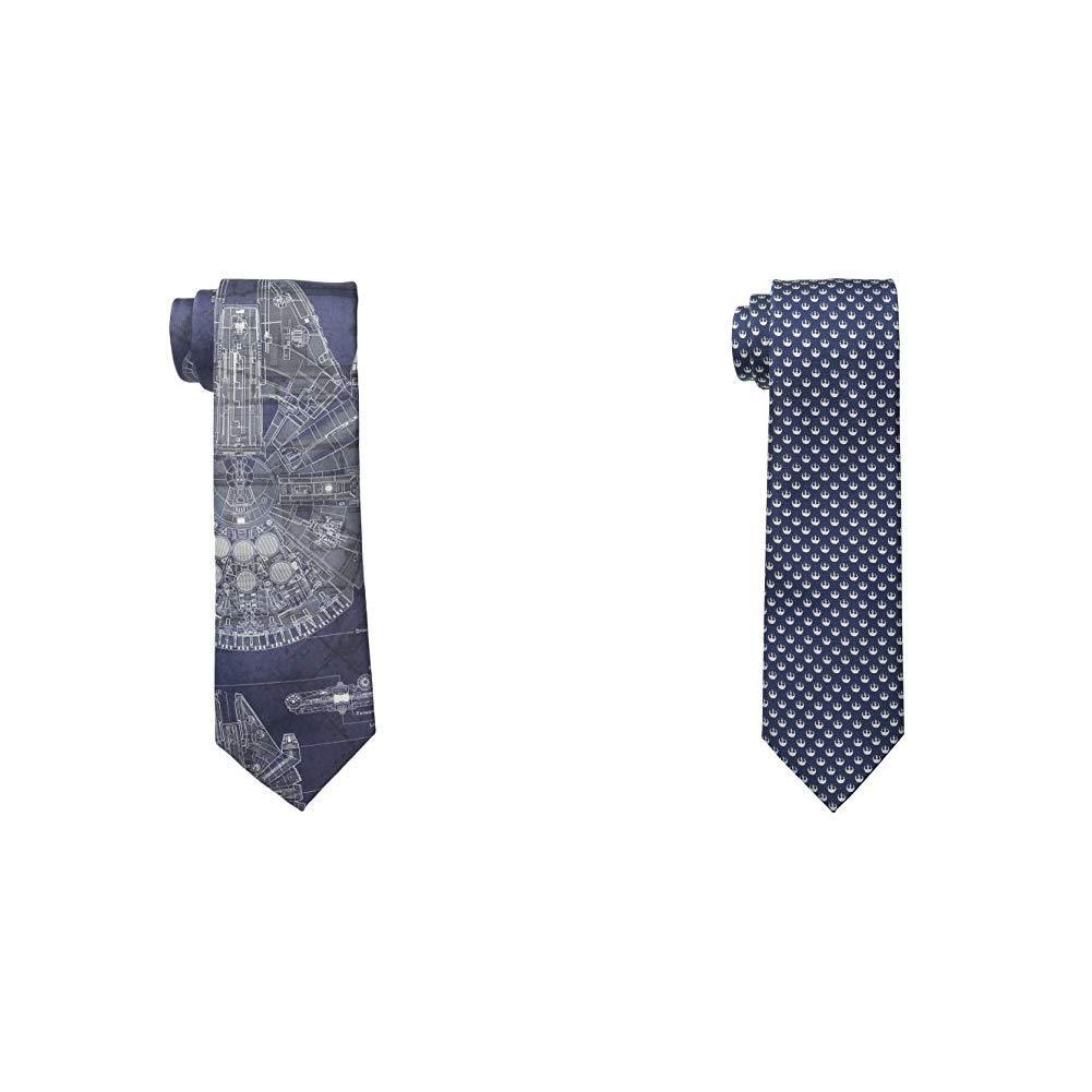 Star Wars Men's Millennium Falcon Tie and Rebel Alliance Tie, Blue/Navy, Regular