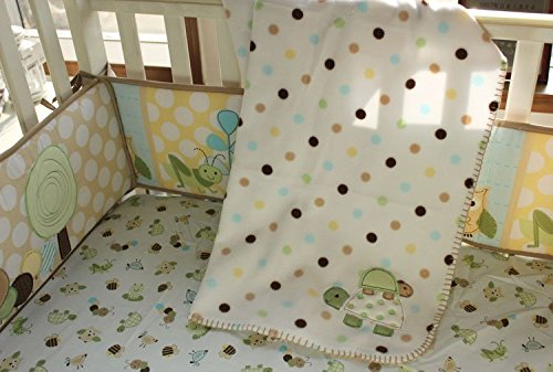 NAUGHTYBOSS Unisex Baby Bedding Set Cotton 3D Embroidery Frog Tortoise Owl Quilt Bumper Bedskirt Fitted Blankets Diaper Bag 9 Pieces Green by NAUGHTYBOSS (Image #6)