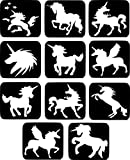 #26 Refill Stencils - 11 X Unicorn Glass Etching Stencils Painting Airbrush Glitter Wine Glass Craft