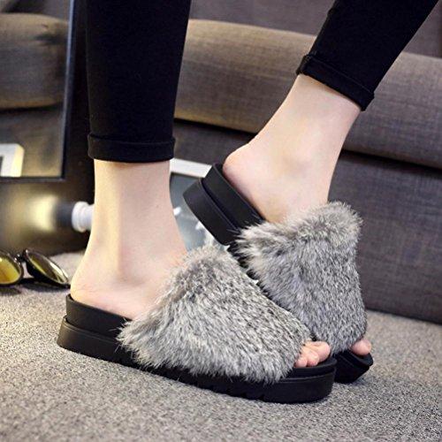 Rawdah Gris Plat épais Sandal Mules Flop en Fausse Fluffy Sliders Slipper Femmes Flip Claquette Bas Fourrure Z55FCqw