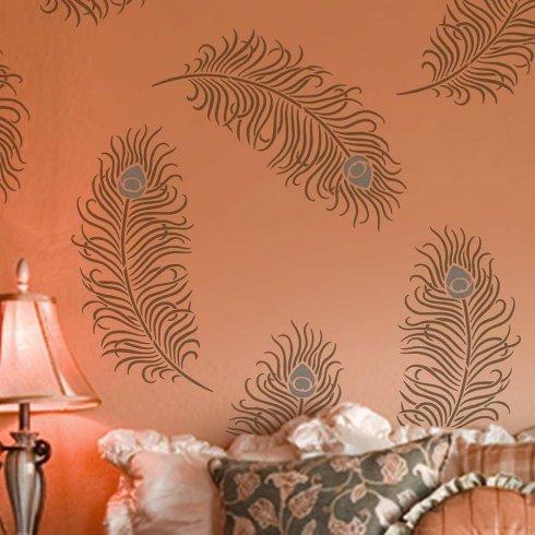 Peacock Feather Grande Wall Art Stencil - Size LARGE - Trendy DIY Wall Designs - Easy DIY Wall Decor - By Cutting Edge Stencils OR098_LG