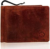 Men's Slim Wallet with Money Clip, Buffalo Brown Leather, RFID NFC Blocking Electronic Theft Protection, Without Coin...