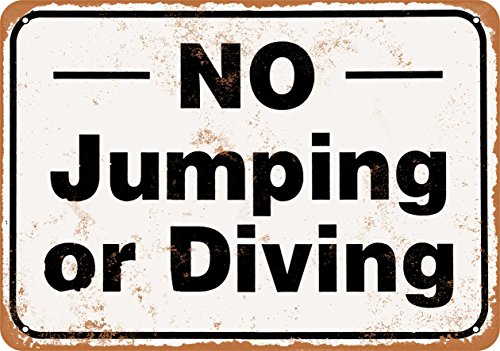 - Wall-Color 7 x 10 Metal Sign - No Jumping or Diving - Vintage Look Reproduction
