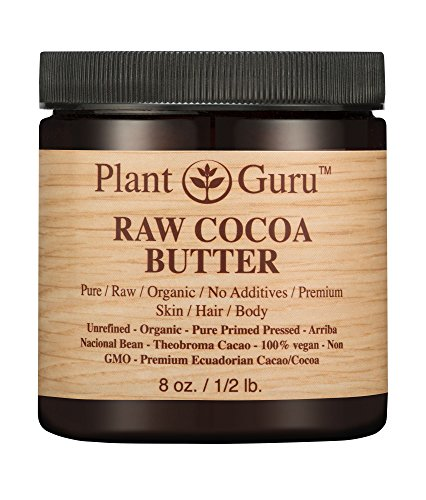 Raw Cocoa Butter 8 oz. 100% Pure Fresh Natural Cold Pressed. Skin Body and Hair Moisturizer, DIY Creams, Balms, Lotions, Soaps.