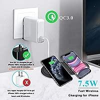 Kdely Cargador inalámbrico Rápido 2 en 1 Qi Cargador Inducción 10W para iPhone 11/11 Pro/11 Pro MAX/XS/XS Max/XR/X/8/8+/ Airpods Pro, Samsung Galaxy ...