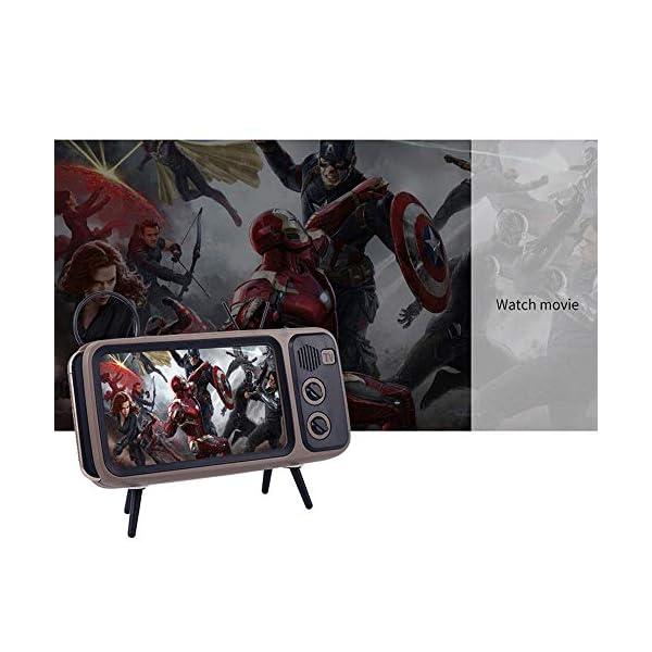Enceinte Portable Rétro Bluetooth,TV Support de téléphone Portable Haut-Parleur,AUX FM Bluetooth en Option, qualité sonore stéréo 3D 6