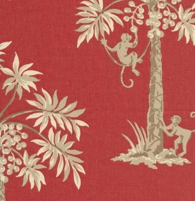 Window Curtain Valance Monkeys Swinging Palm Coconut Trees Color Red, Handmade Custom Made