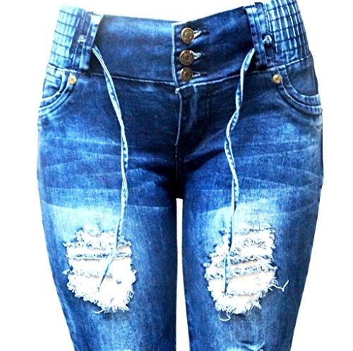 S-OK Juniors Womens Blue Skinny Denim Jeans Destroy Ripped Distressed Pants
