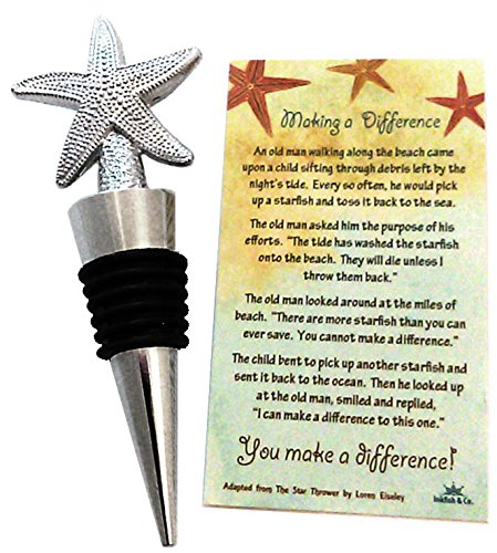 Decorative Starfish Poem Story Wine Bottle Stopper Silver with Turquoise Organza Gift (Starfish Story Gifts)
