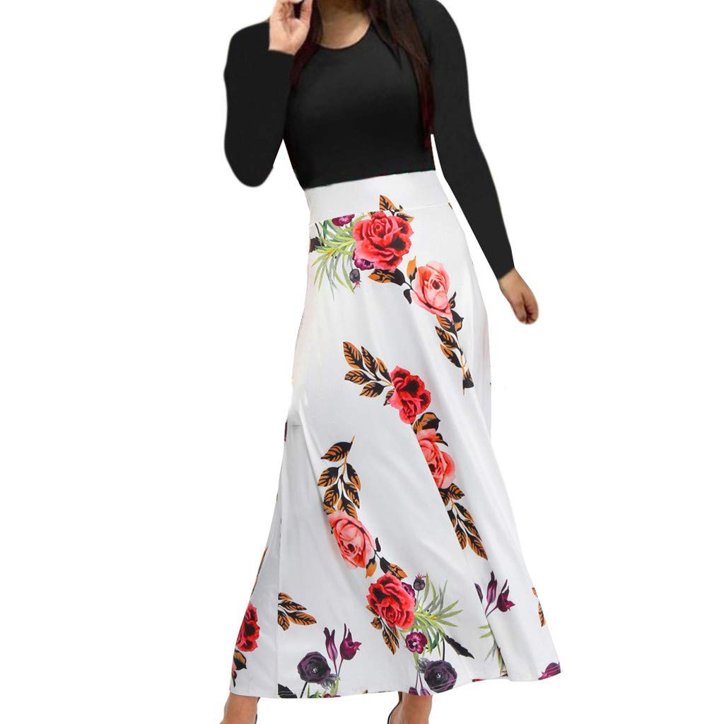 iLUGU Womens Long Sleeve Floral Printed Splicing Color Prom Cocktail Swing Long Maxi Dress by iLUGU