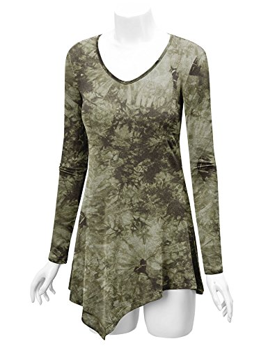 WT1062 Womens V Neck Long Sleeve Tie Dye Handkerchief Hem Tunic XXXL OLIVE by Lock and Love (Image #4)