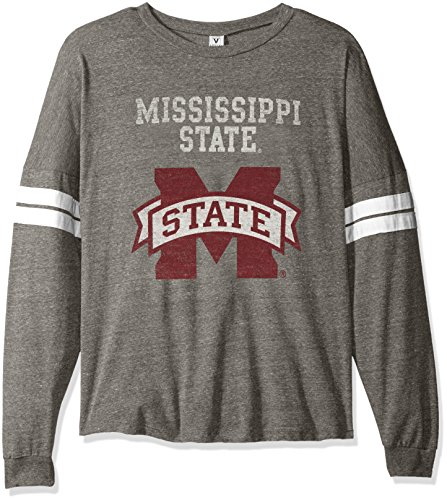 NCAA Mississippi State Bulldogs Betty Long Sleeve Tri-Blend Football Jersey T-Shirt, Small, Tri Grey/White State Bulldogs Football Jersey