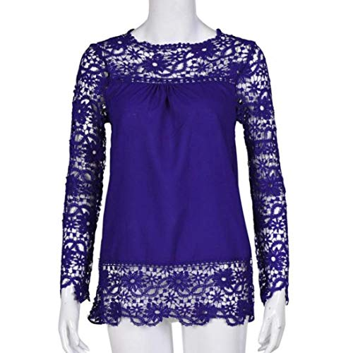 Women Plus Size Hollow Out Lace Splice Long Sleeve Shirt Casual Blouse Loose Top(Blue,Medium) by iQKA (Image #1)