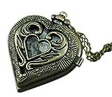 VIGOROSO Men's Antique Steampunk Hollow Out HEART Harry Potter Locket Pocket Watch Necklace