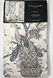 Tahari Home Window Curtains Peacock Jacobean Birds Flowers 50-by-96-inches 100% Cotton Set of 2 Window Panels Pair Drapery Floral Branches Vines Lilac Blue Mustard Grey Taupe Rust (Off White, 52Lx96W)