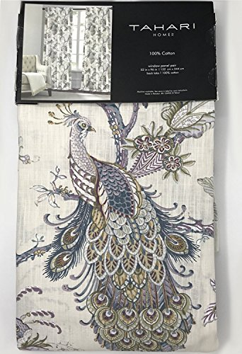 Tahari Home Window Curtains Peacock Jacobean Birds Flowers 50-by-96-inches 100% Cotton Set of 2 Window Panels Pair Drapery Floral Branches Vines Lilac Blue Mustard Grey Taupe Rust (Off White, 52Lx96W) For Sale