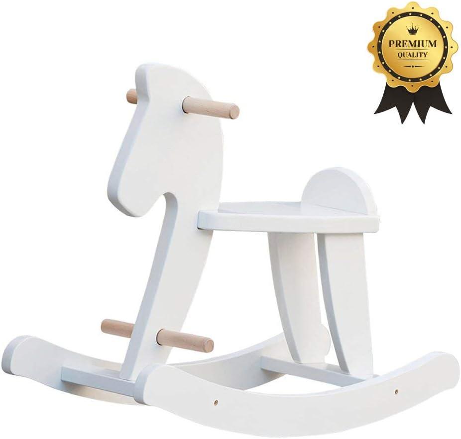 Labebe Bebé Mecedora Madera Blanco, Caballito Blanco para bebé 1-3 años, Bebé Mecedora Animal / Bebé Caballo Mecedora Caballo pequeño / Columpio niño / Caballito / Animal Swing / Mecedora Niños…