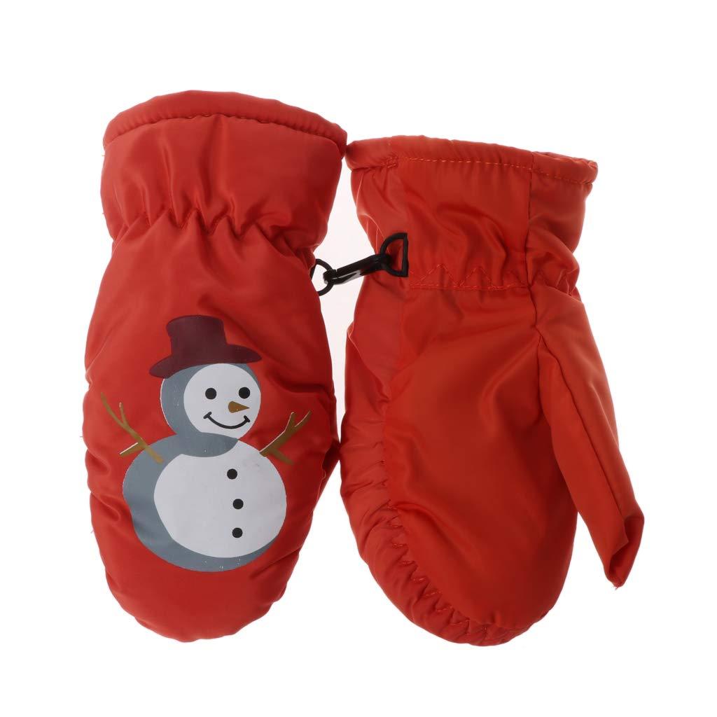 ECMQS Weihnachten Schneemann Kinder Winterhandschuhe, Thermo Warm Handschuhe Atmungsaktive Fausthandschuhe Kinderhandschuhe Winddicht Ski Fäustlinge Pink Schwarz Baby Jungen Mädchen 2–5 Jahre