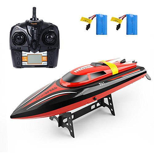 (RC Boat, Remote Control Boat 2.4GHz High Speed Electric Racing Boat Pool Toys for Kids Adults, Capsize Recovery Fast Remote Boat for Pool Lake River Outdoor Adventure, 2 Batteries Included)