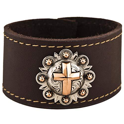 (Copper Cross Leather Cuff Bracelet )