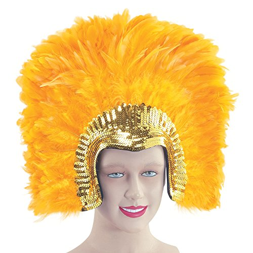 Bristol Novelty BA637 Feather Headddress Gold Deluxe, One -
